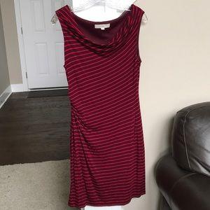 Loft Raspberry and plum striped dress